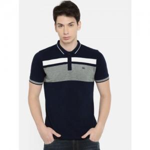 Lee Men Navy Blue & White Striped Round Neck T-shirt