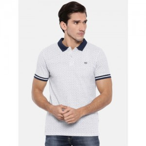 Lee Men White Printed Polo Collar T-shirt