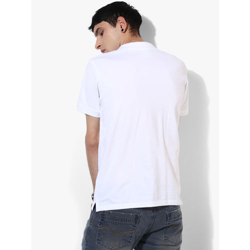 Lee White Solid Regular Fit Polo T-Shirt