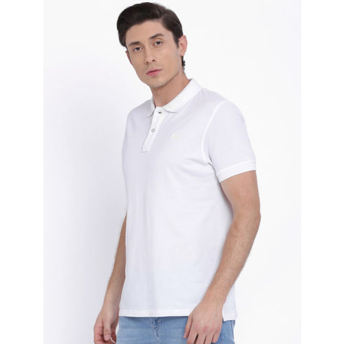 Lee Men White Solid Polo T-shirt