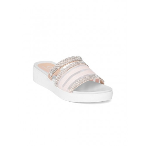 Carlton London Women Pink Solid Synthetic T-Strap Flats