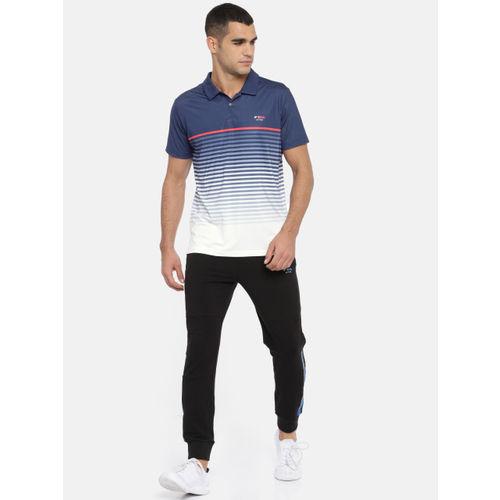 U.S. Polo Assn. Men Navy Blue Striped Polo Collar T-shirt