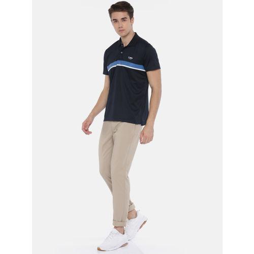 U.S. Polo Assn. Active Men Navy Blue Striped Polo Collar EQUI-DRY T-shirt