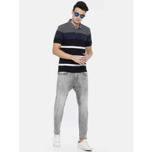U.S. Polo Assn. Men Blue Striped Polo Collar T-shirt