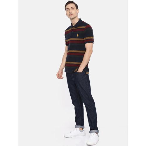 U.S. Polo Assn. Men Navy & Maroon Striped Polo Collar T-shirt