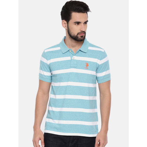 U.S. Polo Assn. Men Blue Striped Polo Collar T-shirt