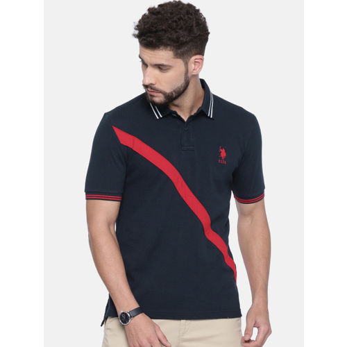 U.S. Polo Assn. Men Navy Blue Solid Polo Collar T-shirt