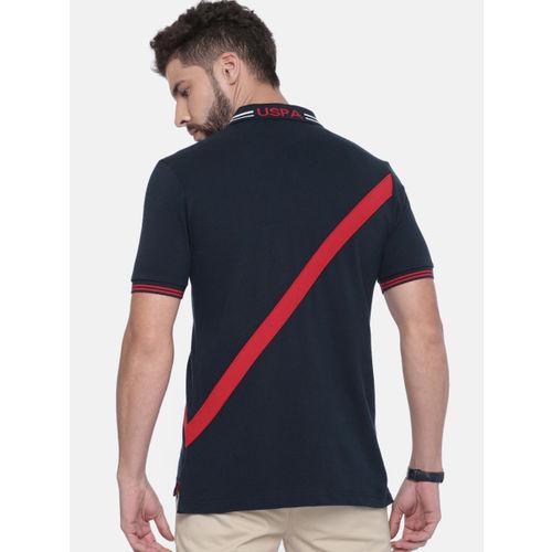 U.S. Polo Assn. Men Navy Blue Solid Polo Collar T-shirt
