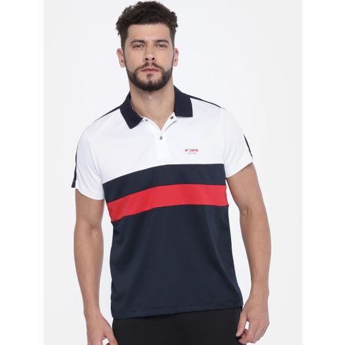 U.S. Polo Assn. Men Navy & White Colourblocked Polo Collar T-shirt