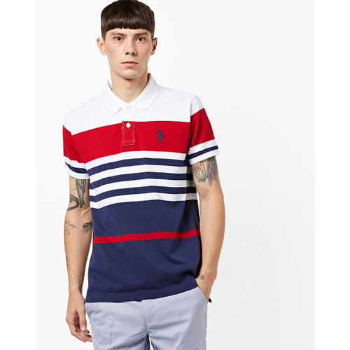 U.S. Polo Assn. Striped Cotton Polo T-shirt with Ribbed Sleeve Hems