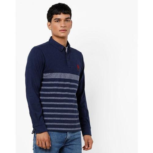U.S. Polo Assn. Striped Polo T-shirt with Step-Hem