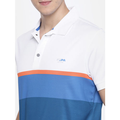 U.S. Polo Assn. Men White & Blue Colourblocked Polo Collar T-shirt