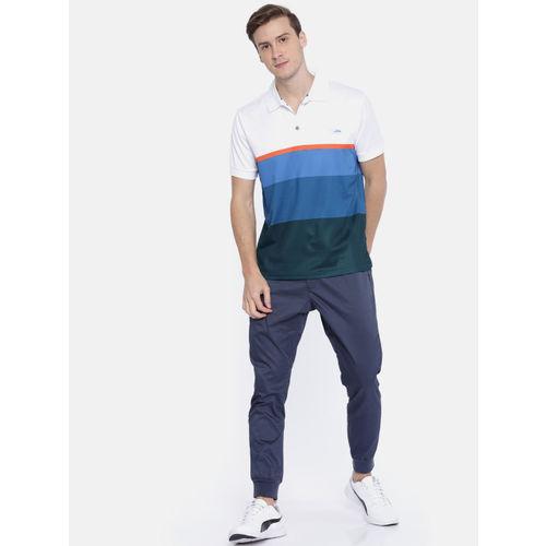 U.S. Polo Assn. Men White & Blue Colourblocked Polo Collar T-shirt