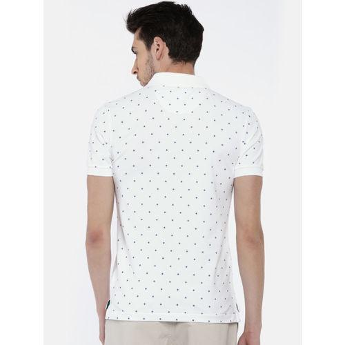 U.S. Polo Assn. Men White Printed Polo Collar T-shirt