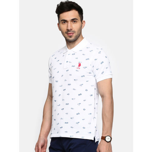 U.S. Polo Assn. Men White Printed Polo Collar T-shirt
