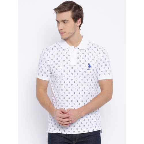 c39af3f0e Buy U.S. Polo Assn. Men White Printed Polo T-shirt online | Looksgud.in