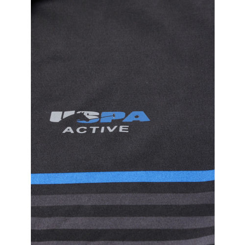 U.S. Polo Assn. Men Black & White Striped Polo Collar T-shirt