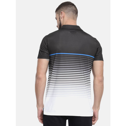 U.S. Polo Assn. Men Black & White Striped Polo Collar T-shirt