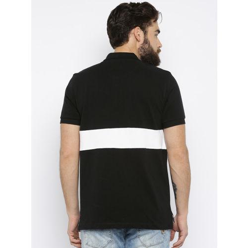 U.S. Polo Assn. Men Black Self-Design Polo T-shirt