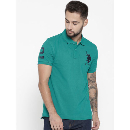 U.S. Polo Assn. Men Green Solid Polo Collar T-shirt