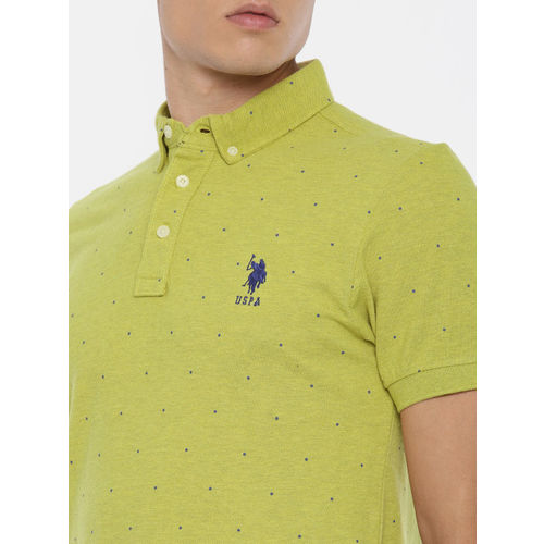 U.S. Polo Assn. Men Green Printed Polo Collar T-shirt