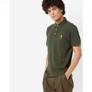 U.S. Polo Assn. Men Olive Green Solid Polo Collar T-shirt