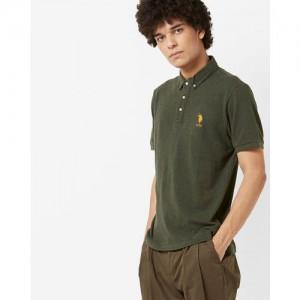 U.S. Polo Assn. Men Olive Green Solid Polo Collar T-shirt