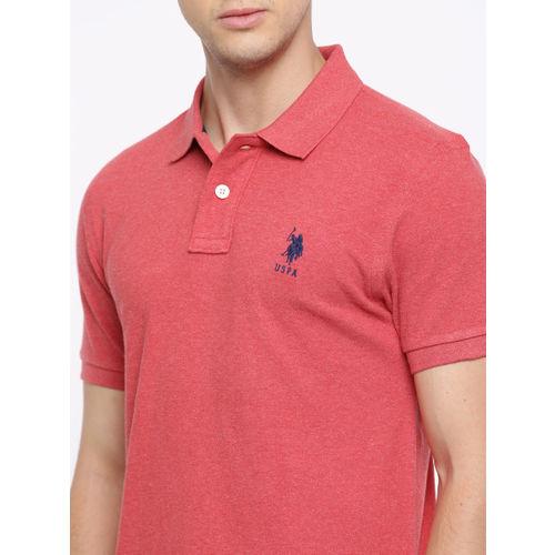 U.S. Polo Assn. Men Red Solid Polo Collar T-shirt
