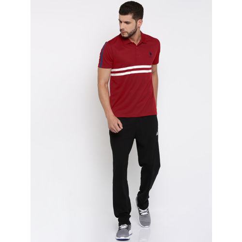U.S. Polo Assn. Men Red Striped Polo T-shirt
