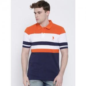 U.S. Polo Assn. Orange & Navy Striped Polo T-shirt