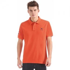 U.S. Polo Assn Solid Men's Polo Neck Orange T-Shirt