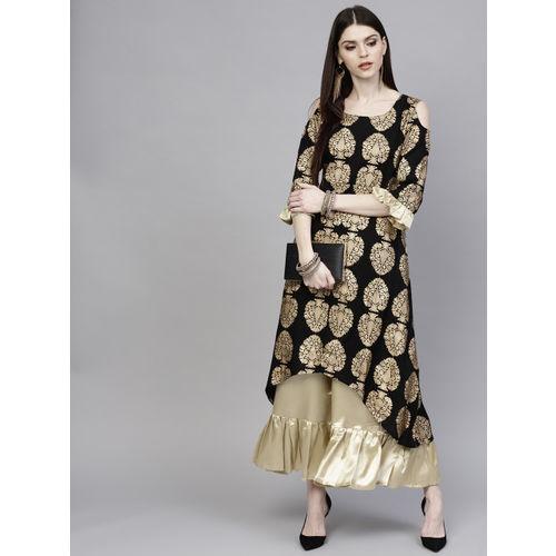 7c78bf0be Buy Libas Women Black   Golden Printed Kurta with Palazzos online ...