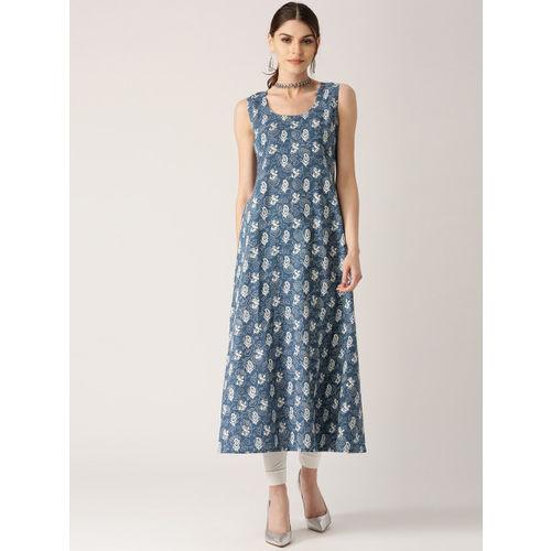 Libas Women Blue & White Printed Layered A-Line Kurta