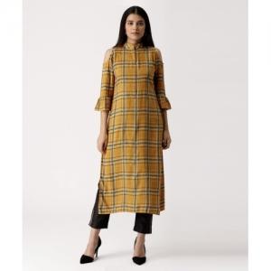 Libas Women Checkered Straight Yellow Kurti