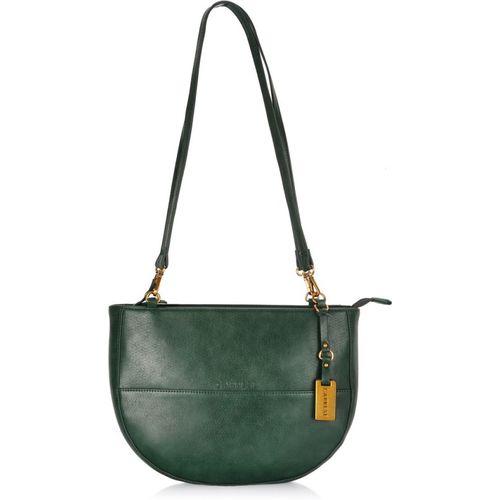 Caprese Green Polyurethane Solid Handbag