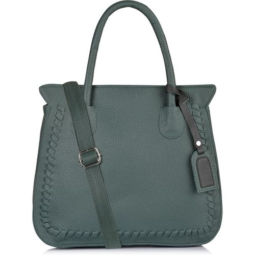 Fostelo Green Synthetic Solid Zip Shoulder Bag