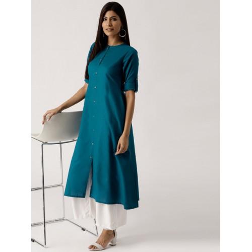 8ed24565c2 Buy Libas Women Teal Blue Solid A-Line Kurta online | Looksgud.in