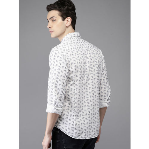 HERE&NOW Men White Regular Fit Printed Casual Shirt