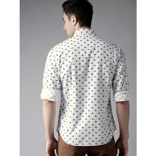 HERE&NOW Men White & Black Regular Fit Printed Casual Shirt