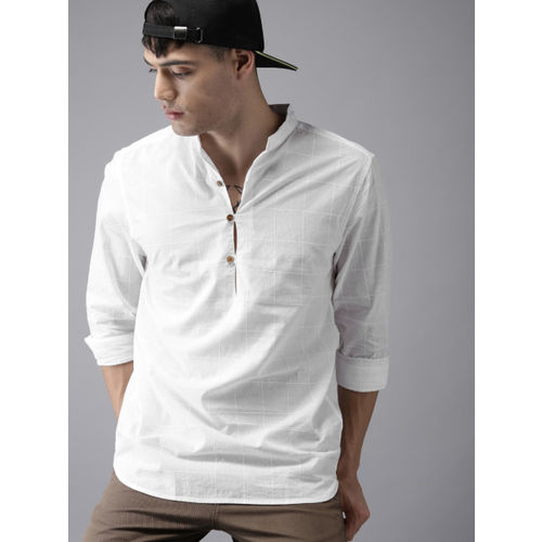 HERE&NOW Men White Checked Straight Shirts