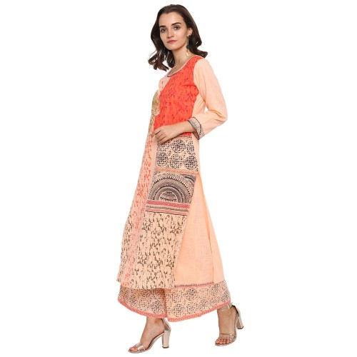 Gloye Peach Printed Cotton Stitched Kurti