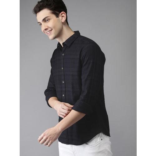 HERE&NOW Men Navy Blue Regular Fit Self Design Casual Shirt