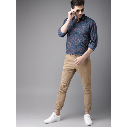 HERE&NOW Men Blue Regular Fit Printed Casual Shirt