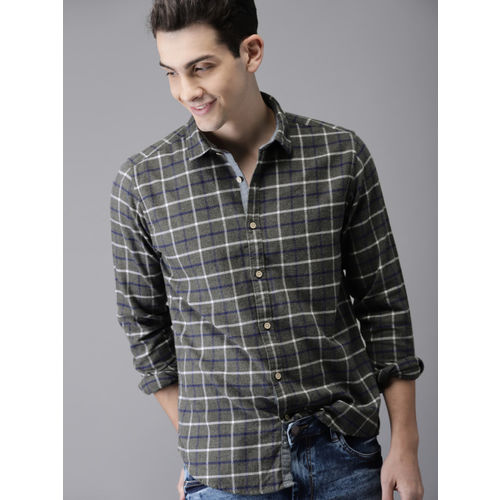 HERE&NOW Men Grey Regular Fit Checked Casual Shirt