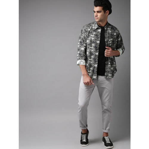 HERE&NOW Men Grey & White Regular Fit Printed Casual Shirt