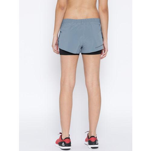 Reebok Women Blue & Black 2-In-1 Running Shorts
