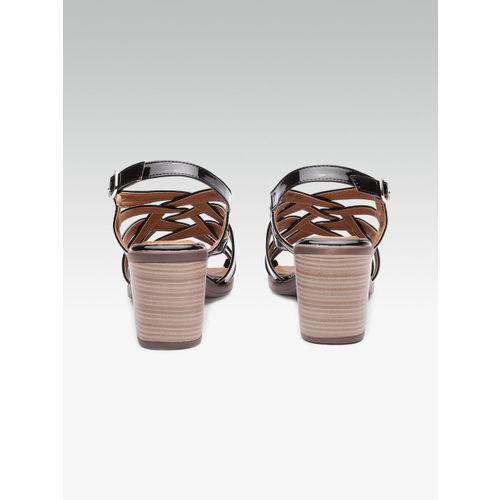 Carlton London Women Black Solid Sandals