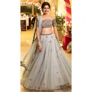 Mashur Fab Grey Sequins Embroidered Semi Stitched lehengas