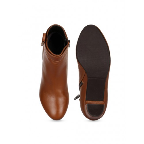 Bruno Manetti Tan Brown Synthetic Solid Heeled Boots