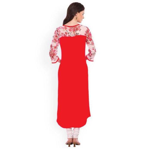 shree wow Shree wow Women's Red Floral Stitched Kurti